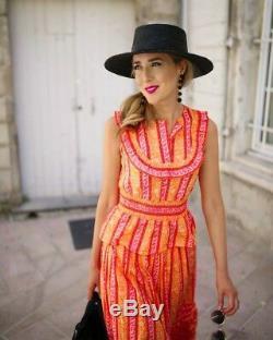 Tory Burch Sunwise Set Ruffle Peplum Top Maxi Skirt RUNWAY Dress XS Size 2 $570