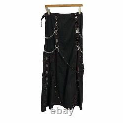 Tripp NYC Skirt Long Maxi Black Chains Straps Skulls Cargo Gothic Size Large