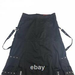 Tripp NYC Skirt Long Maxi Black Chains Straps Skulls Cargo Gothic Size XL