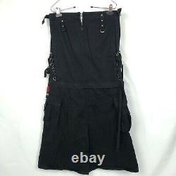 Tripp NYC Women's Long Maxi Zip Off Skirt Vintage Black Size Small Goth