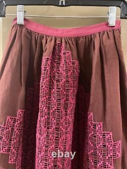 Ulla johnson Linen Long Pink Embroidered Skirt Sz 0 (item 10.1)