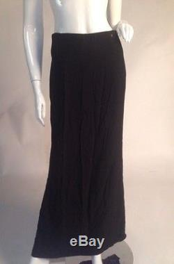 VINTAGE Authentic CHANEL LONG BLACK MAXI SKIRT Circa 1990s RIBBED WAIST