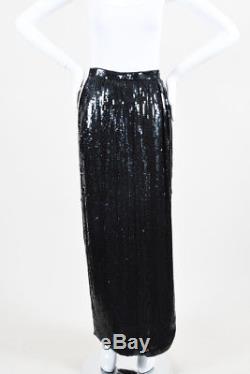 VINTAGE Carolina Herrera Black Sequin Maxi Column Skirt SZ 10