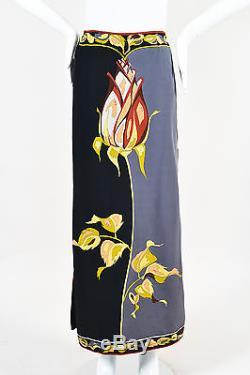 VINTAGE Emilio Pucci Black Gray Silk Rose Print Column Maxi Skirt SZ 12