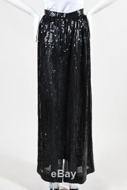 VINTAGE Oscar De La Renta Black Sequin Embellished Pleated Maxi Skirt SZ 8