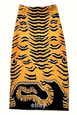 VIVIENNE TAM 90s Vintage Tiger Tail Print Maxi Skirt RARE