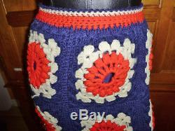 VTG 70s HAND CROCHET KNIT Granny Squares Hippie Boho Festival Maxi Dress SKIRT