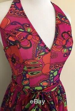 VTG 70s Vibrant Psychedelic Floral Long Halter Dress Boho Hippie Full Skirt S/M