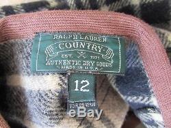 VTG Ralph Lauren Country USA Wool Black Tartan Plaid Maxi Skirt Sz 12
