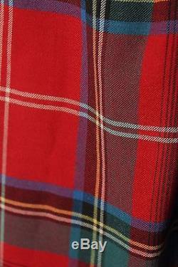 VTG Rare Ralph Lauren Blue Label Tartan Plaid Wool Fringe Wrap Skirt 8