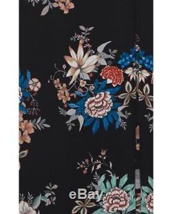 Vilshenko Black Silk Pleat Floral Print Long Maxi Skirt New Uk 8 Adele Slim Fit