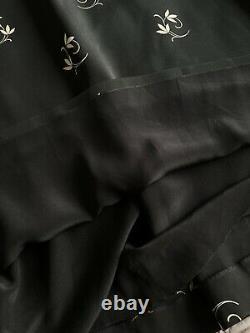 Vilshenko Black silk maxi long skirt with velvet details 8 UK