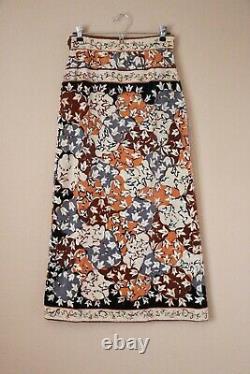 Vintage 1970's Emilio Pucci Velvet Printed Long Maxi Skirt, Brown Floral, 28 M