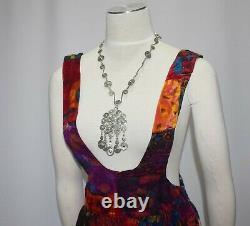 Vintage 1970s Velvet Patchwork Pinafore Straps Maxi Dress Skirt Boho Hippie XS S