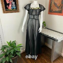 Vintage 40s 50s Sheer Organza Black Long Maxi Dress Full Skirt L Large 1940s
