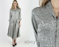Vintage 50s Silver Floral Dress Rockabilly Cocktail Lounge Party Full Skirt Maxi