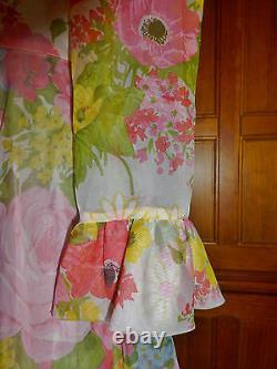 Vintage 70s Sheer Organza FLORAL Print Ruffle BOHO Wedding Full Skirt MAXI DRESS