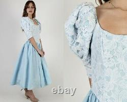 Vintage 80s Gunne Sax Dress Fairytale White Floral Lace Blue Full Skirt Maxi