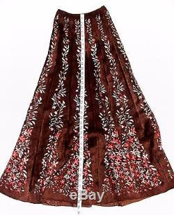 Vintage Alaia Floral Vine Red-Brown Stretch Knit Pleated Long Maxi Skirt
