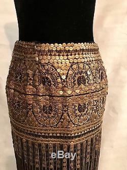 Vintage Bill Blass Bronze Sequin & Black Embroidered Skirt Sz 4