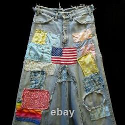 Vintage Boho Patchwork Maxi Skirt S/M