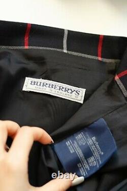 Vintage Burberry Plaid Pleated Blue Nova Chek Maxi Skirt Size 12 / M