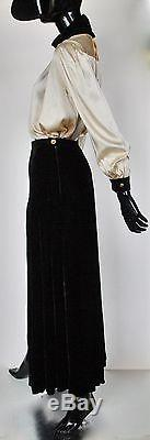 Vintage CHANEL Pleated Maxi VELVET Skirt Evening Occasion WITCH Black M