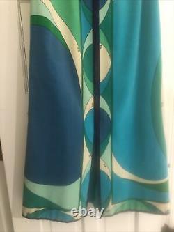 Vintage EMILIO PUCCI Size Small Blue Green Mod Velvet A-Line Skirt Maxi