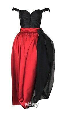 Vintage F/W 1992 Dolce & Gabbana Runway Victorian Corset Red Crinoline Skirt