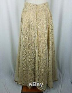 Vintage Gypsy Skirt Lace Full Swing Long Maxi Duster Womens M L Handmade Roses