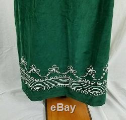 Vintage Handmade Emerald Green Embroidered Velvet Long Maxi Skirt Womens XS S