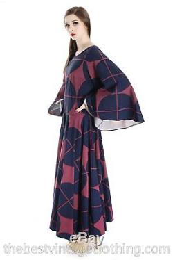 Vintage Marimekko Katsuji Wakisaka Angel Sleeve Full Skirt Maxi Dress Cotton 40/