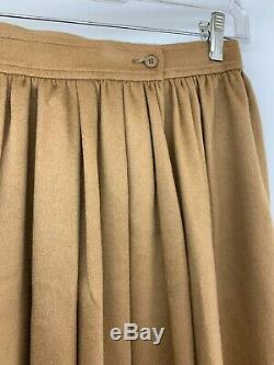 Vintage Saint Laurent Rive Gauche Tan Camel wool pleated Maxi Skirt XS