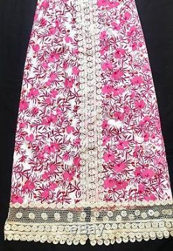 Vintage The Lilly Pulitzer Pink Floral Long Maxi Skirt Lace Trim Nice