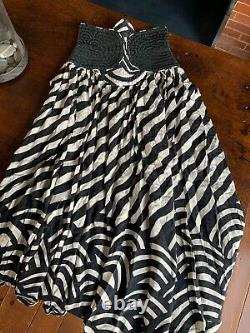 Vintage Wayne Clark Studio Silk Art Deco Black And Cream Skirt
