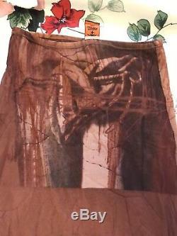Vintage jean paul gaultier brown tan venus de milo print mesh layered maxi skirt
