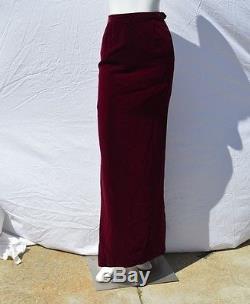 Vintage yves saint laurent rive gauche long maxi velvet pencil skirt sexy sz 38