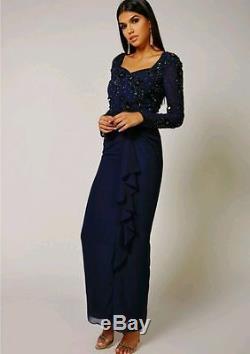 Virgos Lounge Navy Embellished Long Sleeve Frill Skirt Party Maxi Dress 10 38