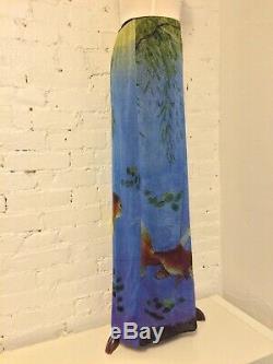 Vivienne Tam Nylon Mesh Tropical Fish Print Long Maxi Skirt Blue size 2