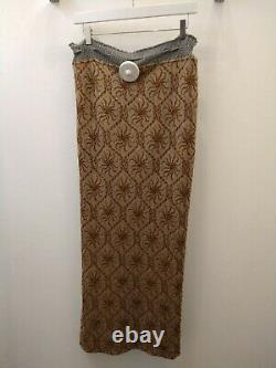Vivienne Westwood Women's Bronze Knitted CLIMATE REVOLUTION Maxi Skirt Size M