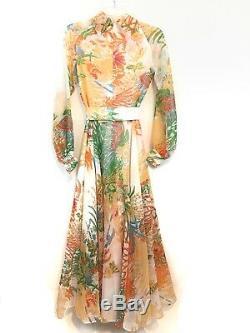 Vtg 70s Don Luis de Espana Dress Gown Size 6 Floral Chiffon Long Full Skirt Sash