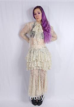 Vtg 80s Betsey Johnson Punk Label 2 Piece Sheer Lace Tunic + Maxi Skirt Wedding