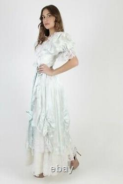 Vtg 80s Satin Floral Dress Romantic Lace Off Shoulder Full Skirt Gown Prom Maxi