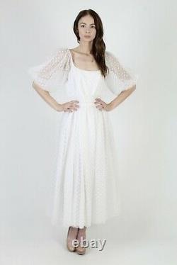Vtg 80s Victor Costa Dress White Lace Polka Dot Wedding Party Full Skirt Maxi