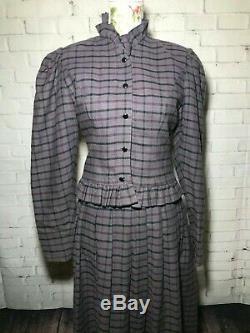 Vtg Laura Ashley Wool Blend Long Maxi Prairie Victorian Skirt & Top Plaid US 10