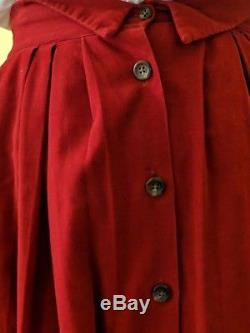 Vtg Ralph Lauren Equestrian Minimalist Red Corduroy Full Gathered Maxi Skirt 12
