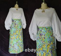 Vtg The Lilly Pulitzer dress maxi long skirt teal yellow floral resort Hawaiian