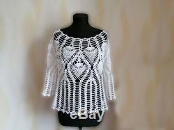 White cotton dress blouse skirt crochet floor length skirt openwork blouse