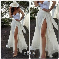 Women's Chiffon Boho High Waist Beach Wrap Maxi Split Skirt Summer Long Dress