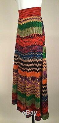 Women's Missoni Multi Color Printed Metallic Maxi Skirt Size 38